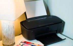 dorm printer on night stand