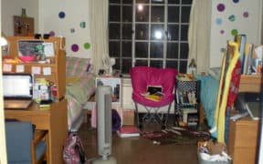 dorm room with fan