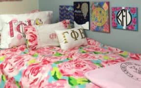 dorm bed with sorority letters