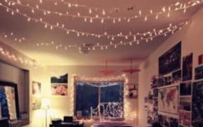 Dorm room with hanging lights