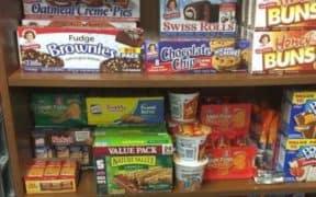 assorted snacks on shelf