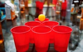red cups with ping pong ball